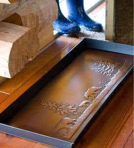 Bear Boot Tray In Embossed Metal