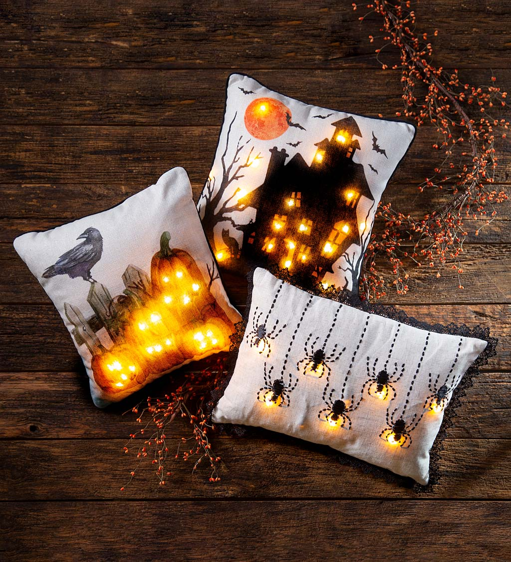 Lighted Halloween Decorative Throw Pillow