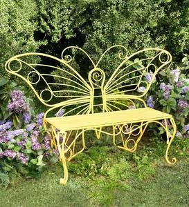 Yellow Metal Butterfly Garden Bench