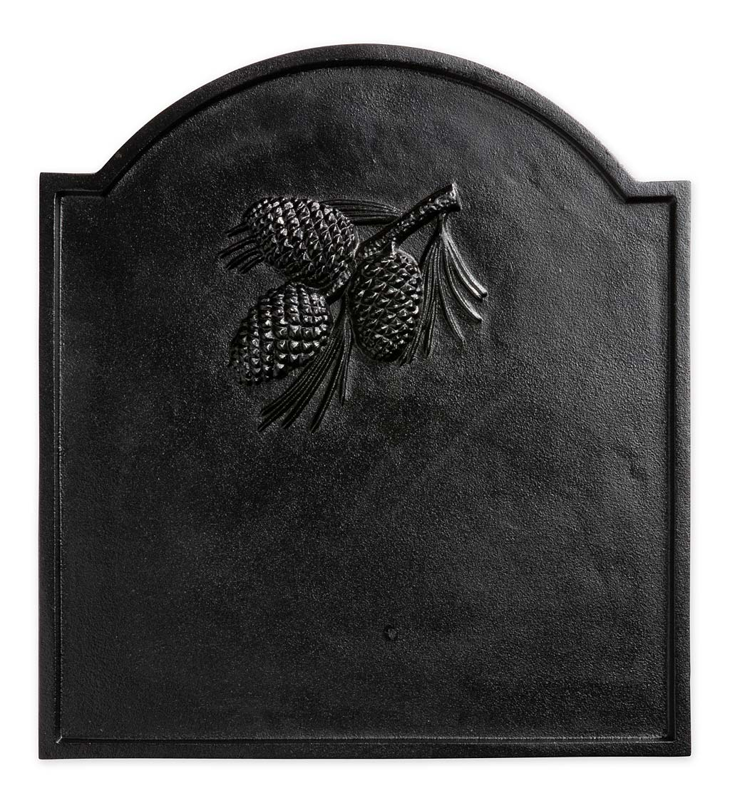 Cast Iron Fireback with Pine Cone Design