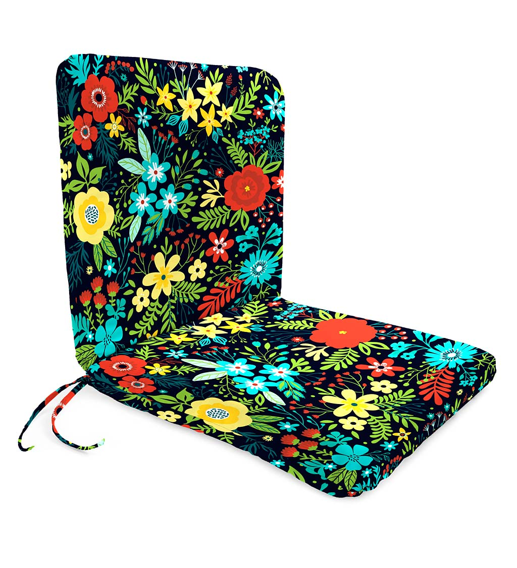 "Polyester Classic Chair Cushion With Ties, Seat 19"" x 17"" x 2½""; Back 19"" x 19"" x 2½"""