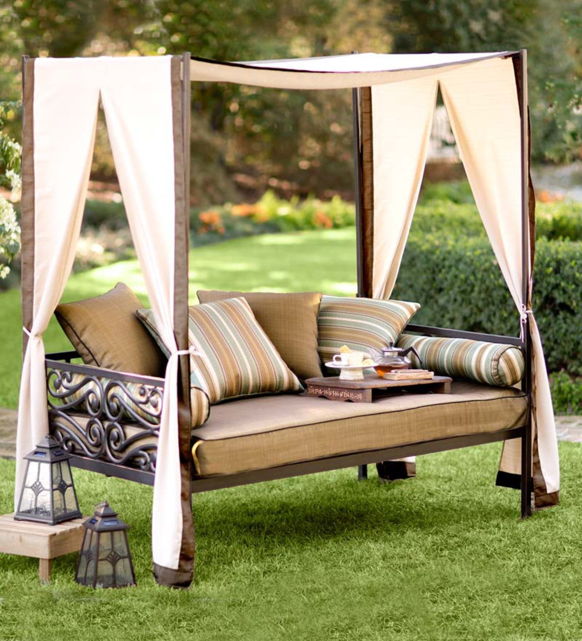 Outdoor Lounger With Canopy And Pillows Plowhearth