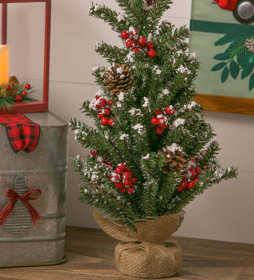 "Snow and Berry 24"" Artificial Tree in Burlap"