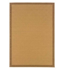 "6'3""W x 9'2""L Indoor/Outdoor Stain-Resistant Textured Lanai Rug with Solid Color Border - Brown"