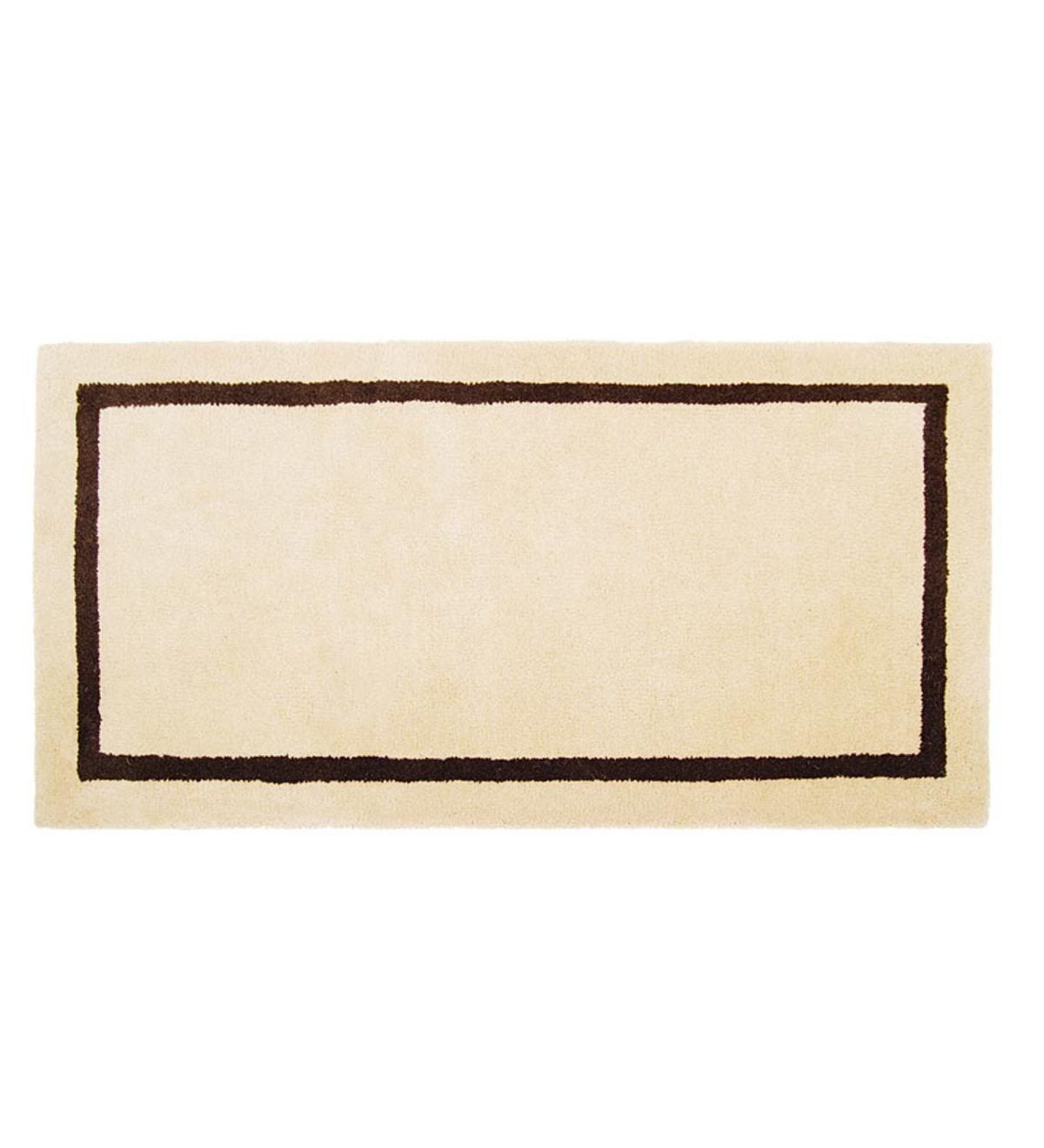Rectangular Banded Wool Hearth Rug - Red