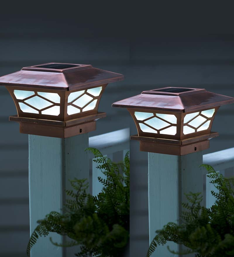 Classic Solar Post Cap Lights, Set of 2