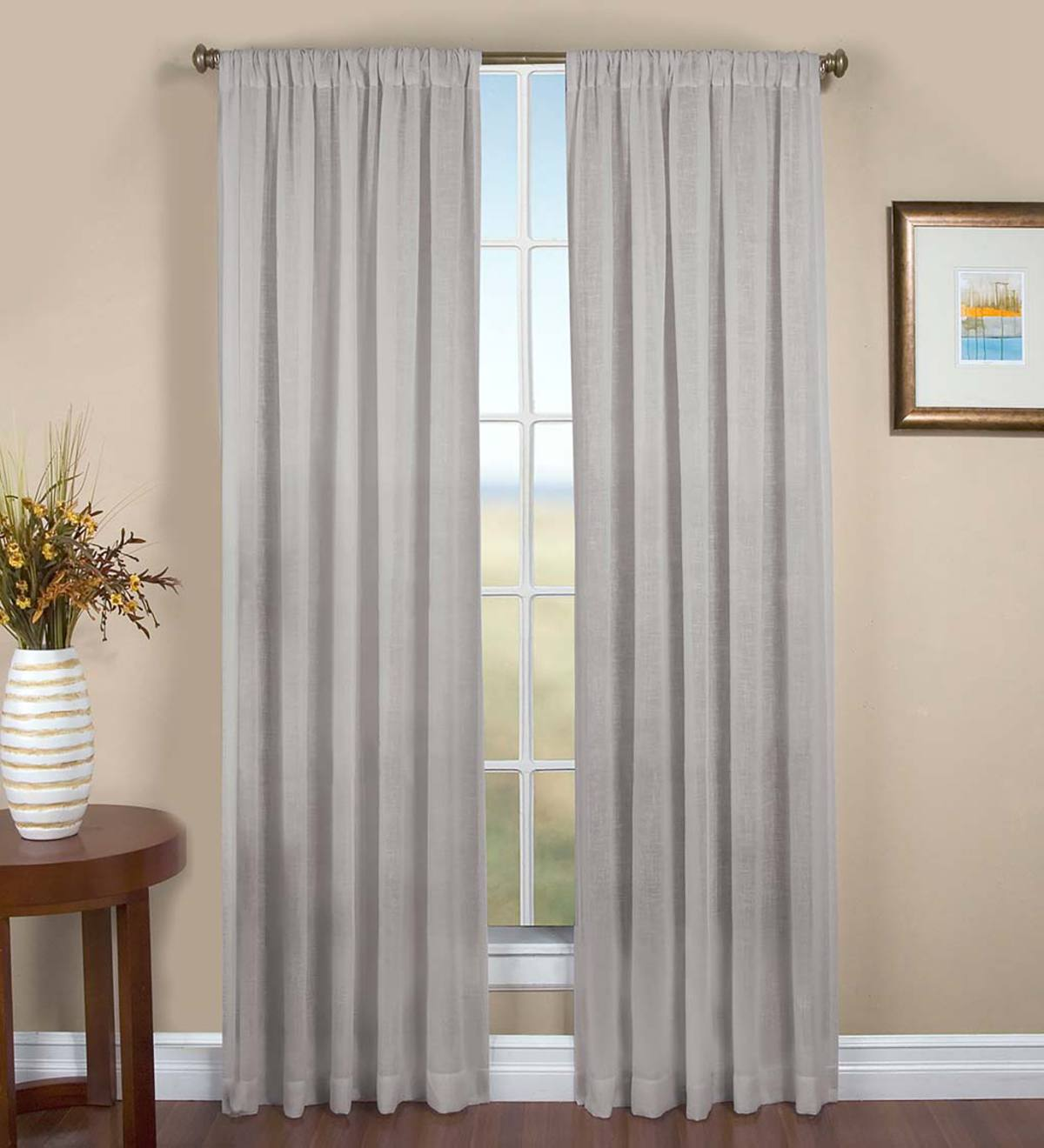 "Sheer Linen Panel with Rod Pocket, 52""W x 96""L - Gray"