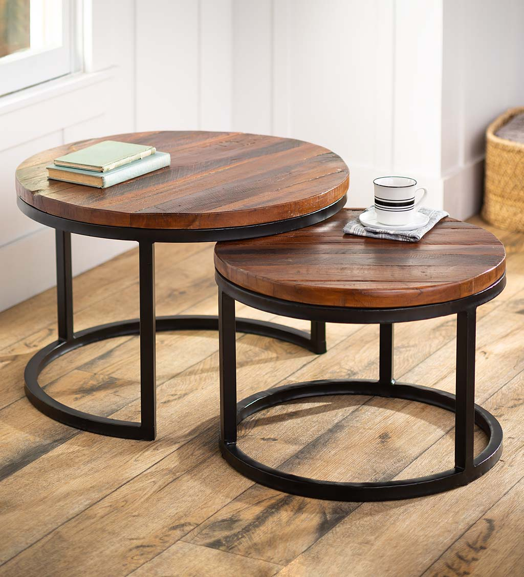 Allegheny Reclaimed Wood Round Nesting Tables, Set of 2