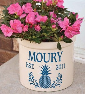 Pineapple Personalized Crock With Name And Year
