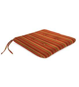 "Sunbrella& Classic Tufted Chair Cushion with Ties, 20¾""x 20¼""x 3"" - Cherry Stripe"