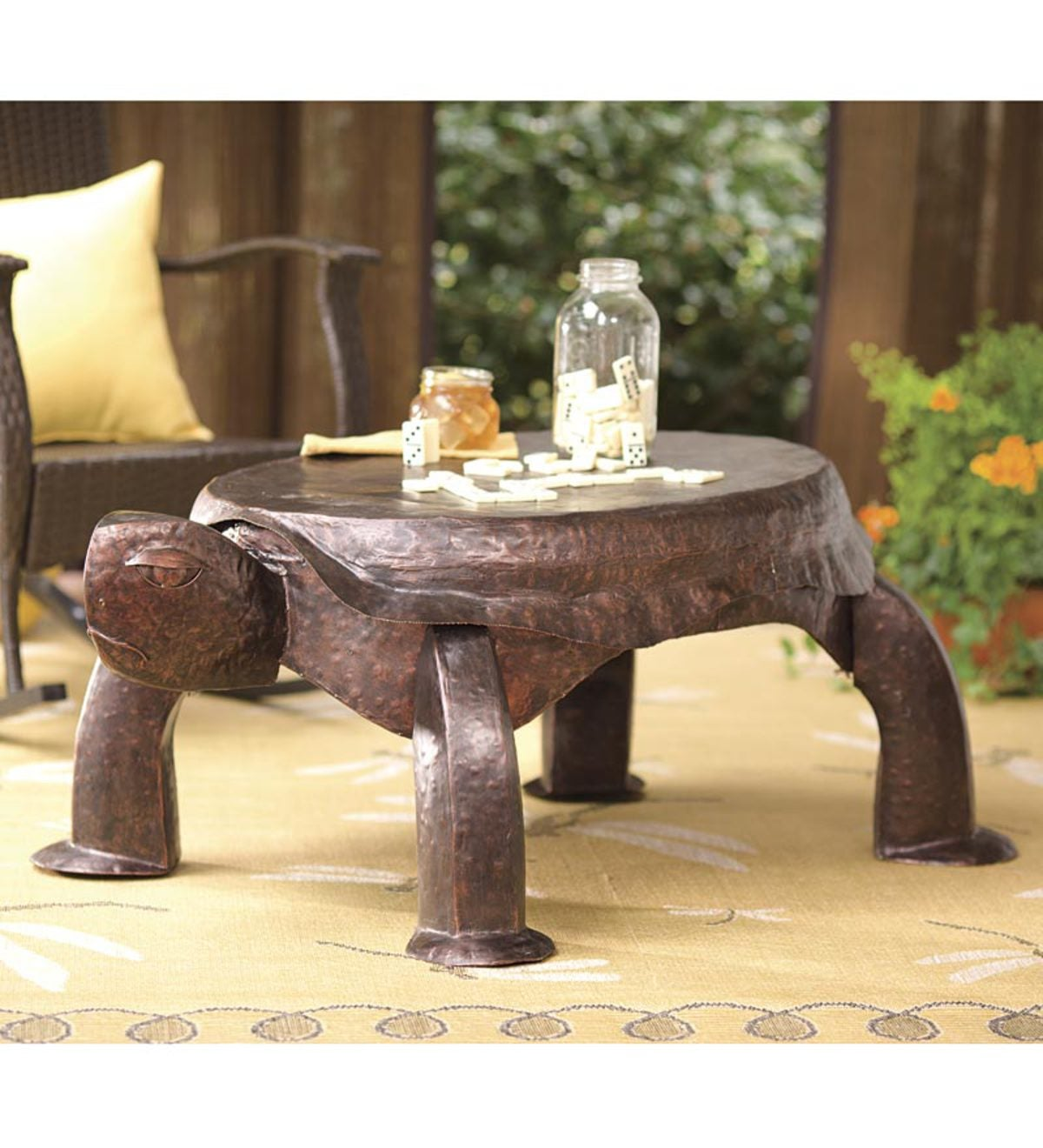 Beau Handcrafted Metal Turtle Coffee Table For Outdoor Or Indoor Use