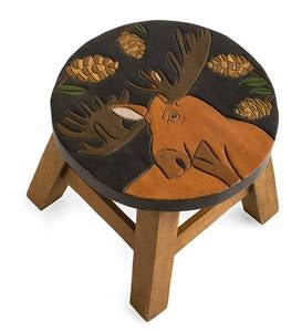 Hand-Carved Wood Moose Footstool