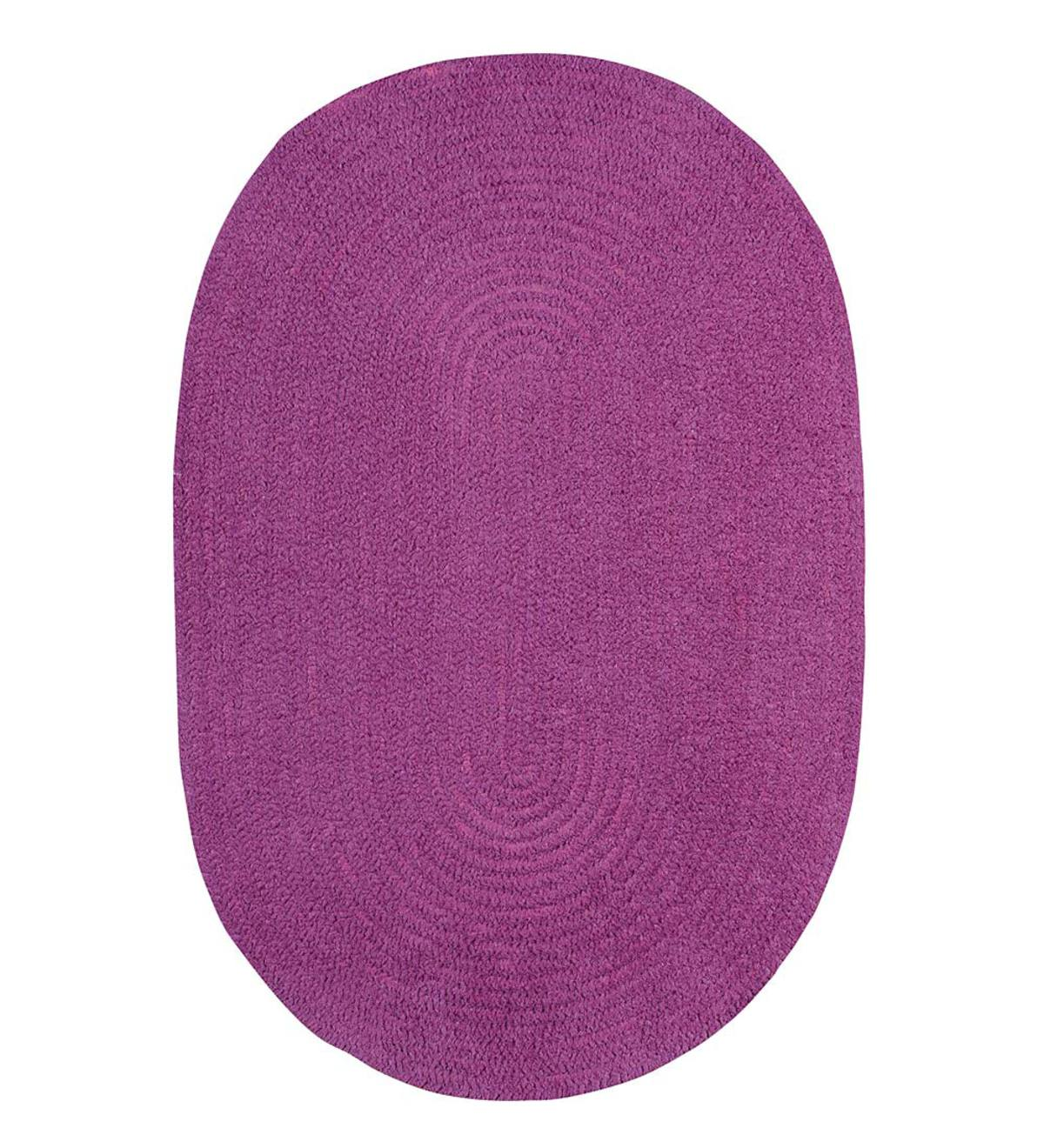 Chenille Oval Braided Area Rug, 9' x 12' - Wildberry
