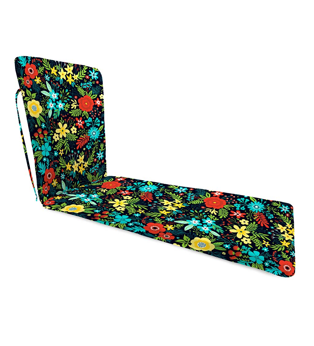 "Polyester Classic Chaise Cushion With Ties, 76""x 23""x 3"" hinged 47½"" from bottom swatch image"
