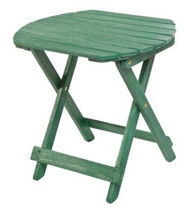 Classic Adirondack Oval Side Table - Green Painted Hardwood