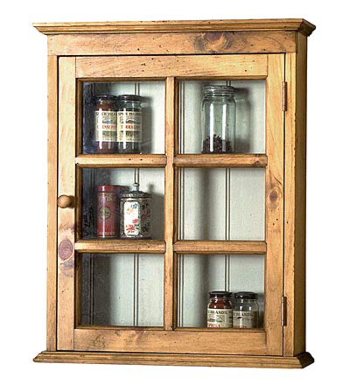 Pine Wall Cabinet with Glass-Pane Door and Beadboard Back