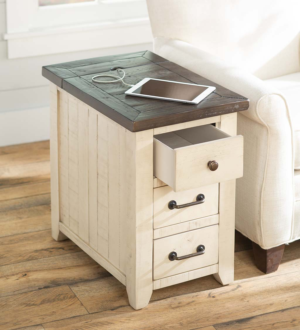 Cape Charles Reclaimed Wood Power Station Side Table with USB Ports