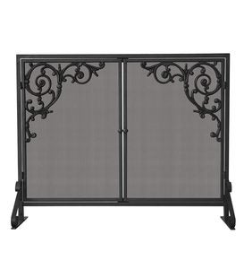 Olde World Single Panel Fireplace Screen with Doors and Cast Scrolls