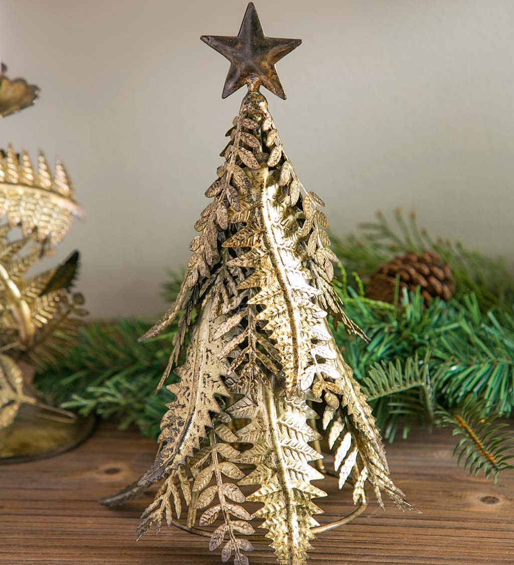 Galvanized Metal Festive Tree Table Decor