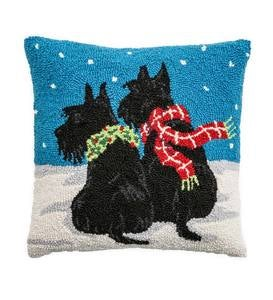 Hooked Wool Scottie Dogs Holiday Throw Pillow