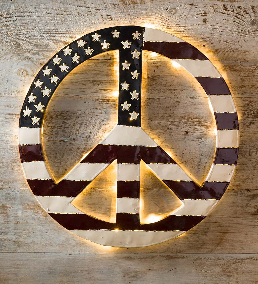 Indoor/Outdoor Lighted Americana Flag Peace Sign Wall Art