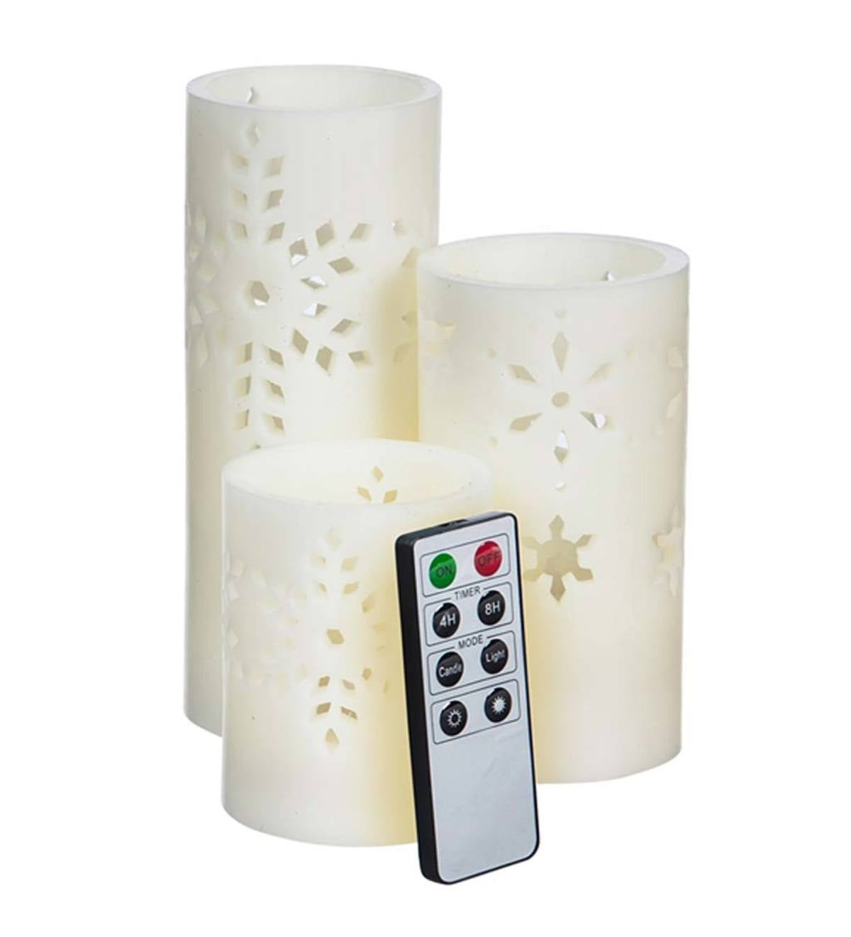 Snowflake Cutout Led Pillar Candles With Remote Set Of 3 Plowhearth