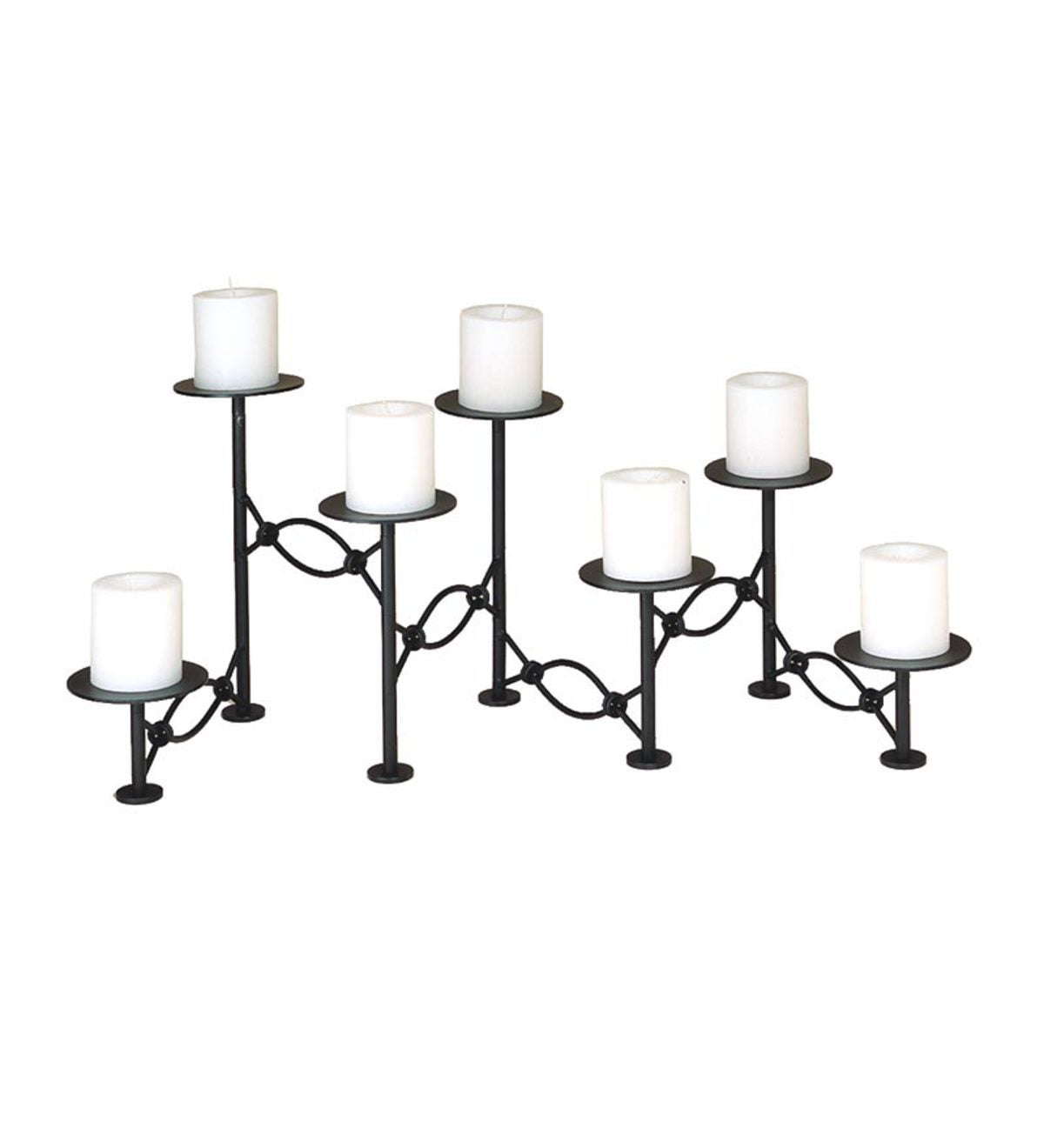 Iron Seven-Tiered Linked Fireplace Candelabra