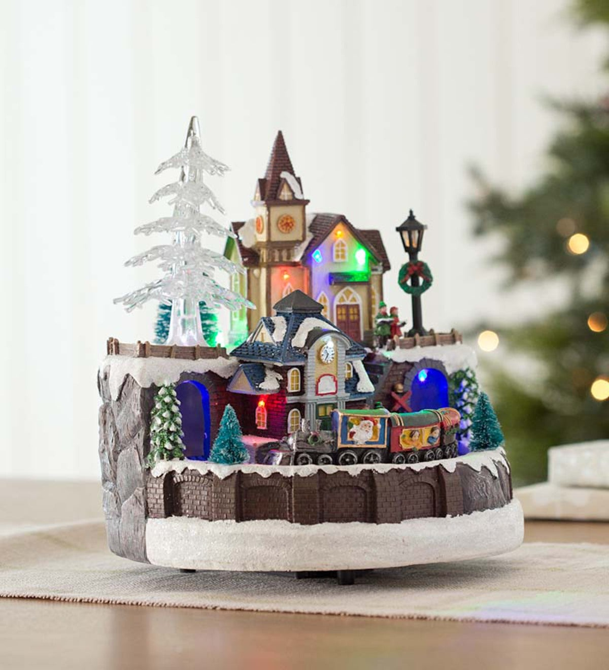 lighted train village christmas music box - Lighted Train Christmas Decoration