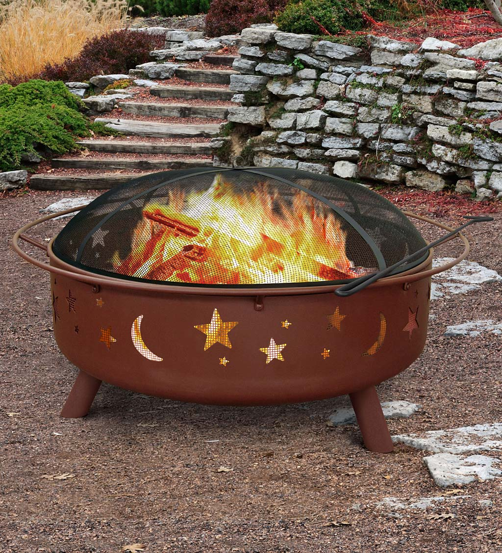 "Super Sky 36"" Stars & Moon Wood-Burning Fire Pit"