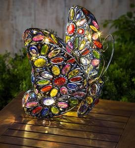 Solar Butterfly Light with Colorful Jewels