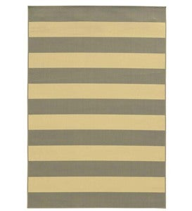 "6'7""x 9'6""Horizontal Stripe Indoor/Outdoor Rug - Light Blue/Ivory"
