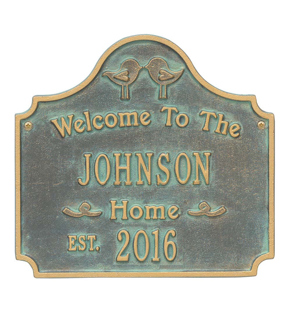 Cast Aluminum Personalized Love Birds House Plaque swatch image