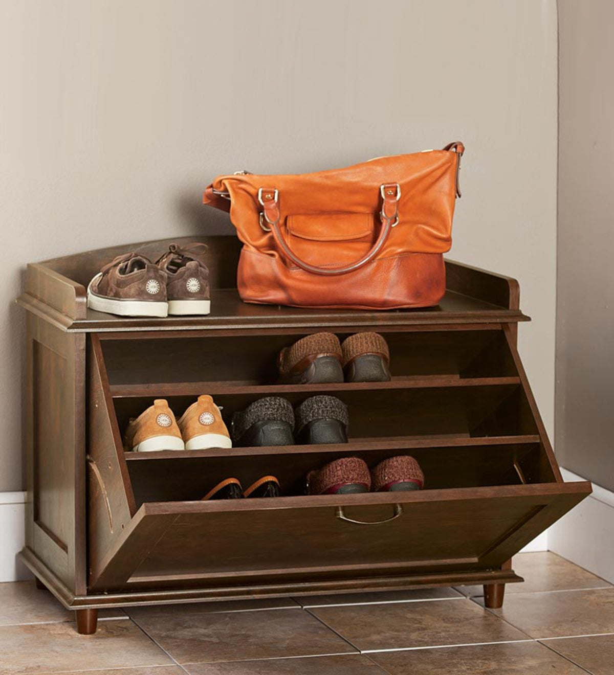Wooden Shoe Storage Chest With Handle Plowhearth