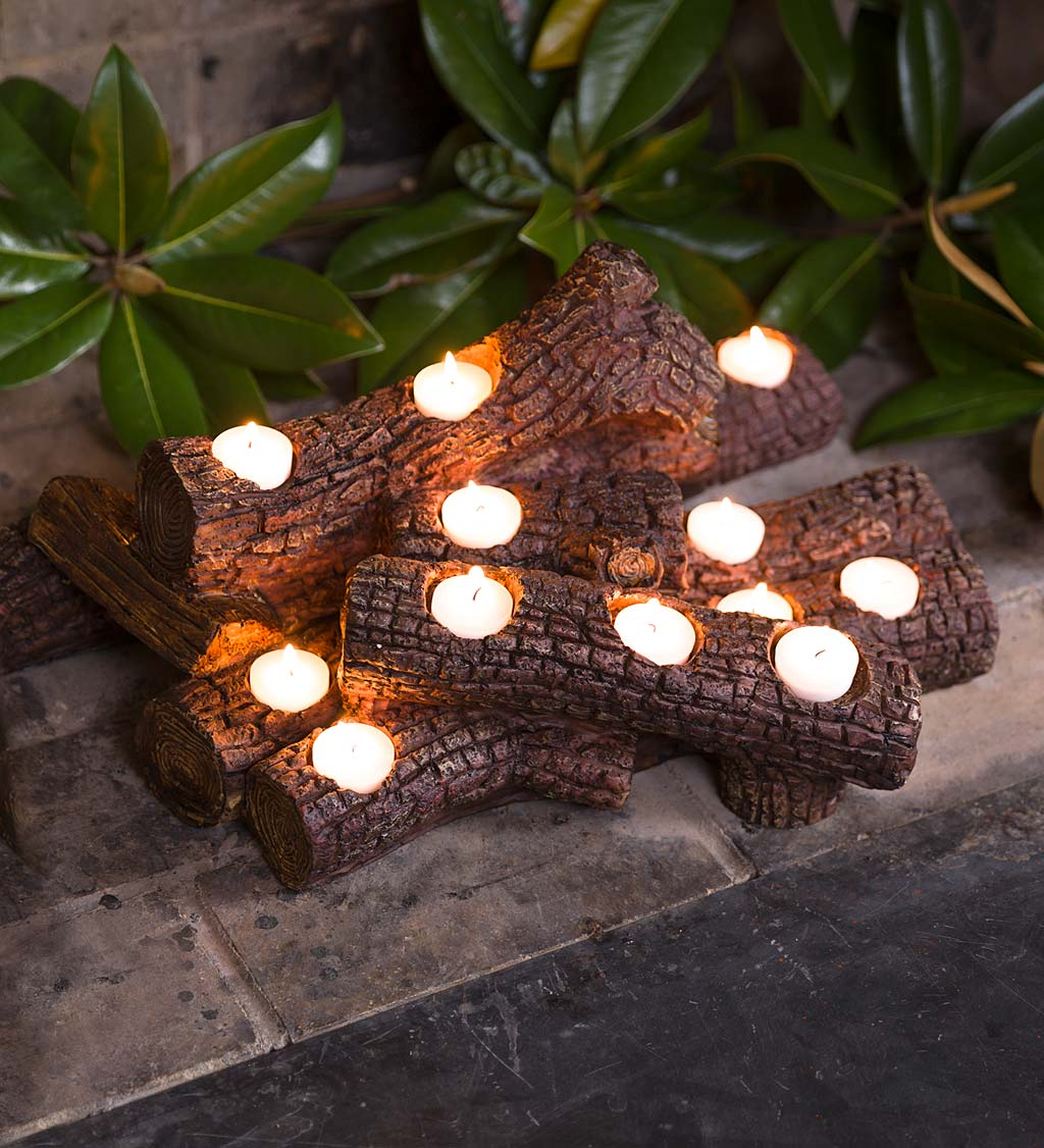 Large Log Fireplace Candle Holder