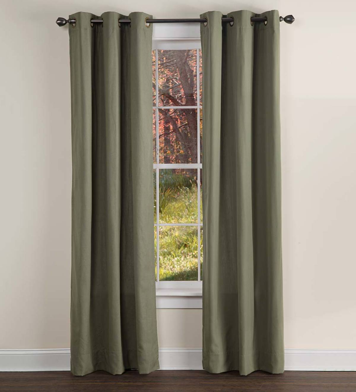 "Homespun Double-Wide Grommet Top Patio Panel with Wand, 84""L x 80""W"