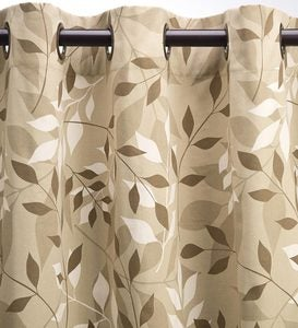 "Leaves Grommet-Top Curtains, 84""L - Natural Leaves"