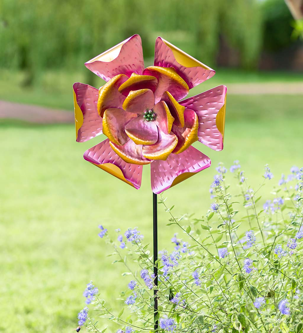 Pink Petals Metal Flower Wind Spinner
