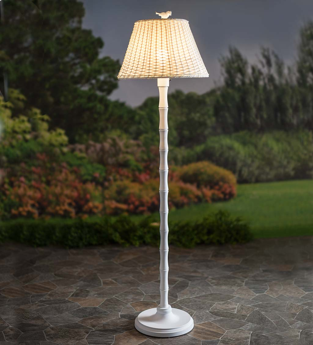 Waterproof Outdoor Wicker Floor Lamp