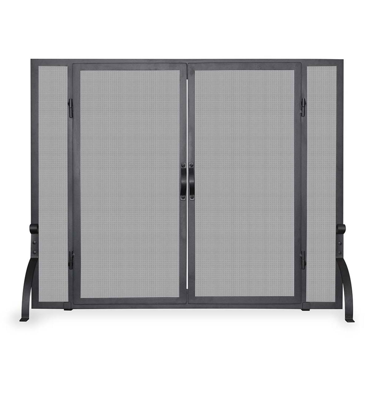 Single Panel Wrought Iron Fireplace Screen with Doors