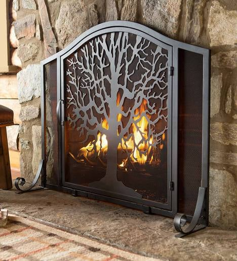 Hearth Covers: Small Tree Of Life Fire Screen With Door