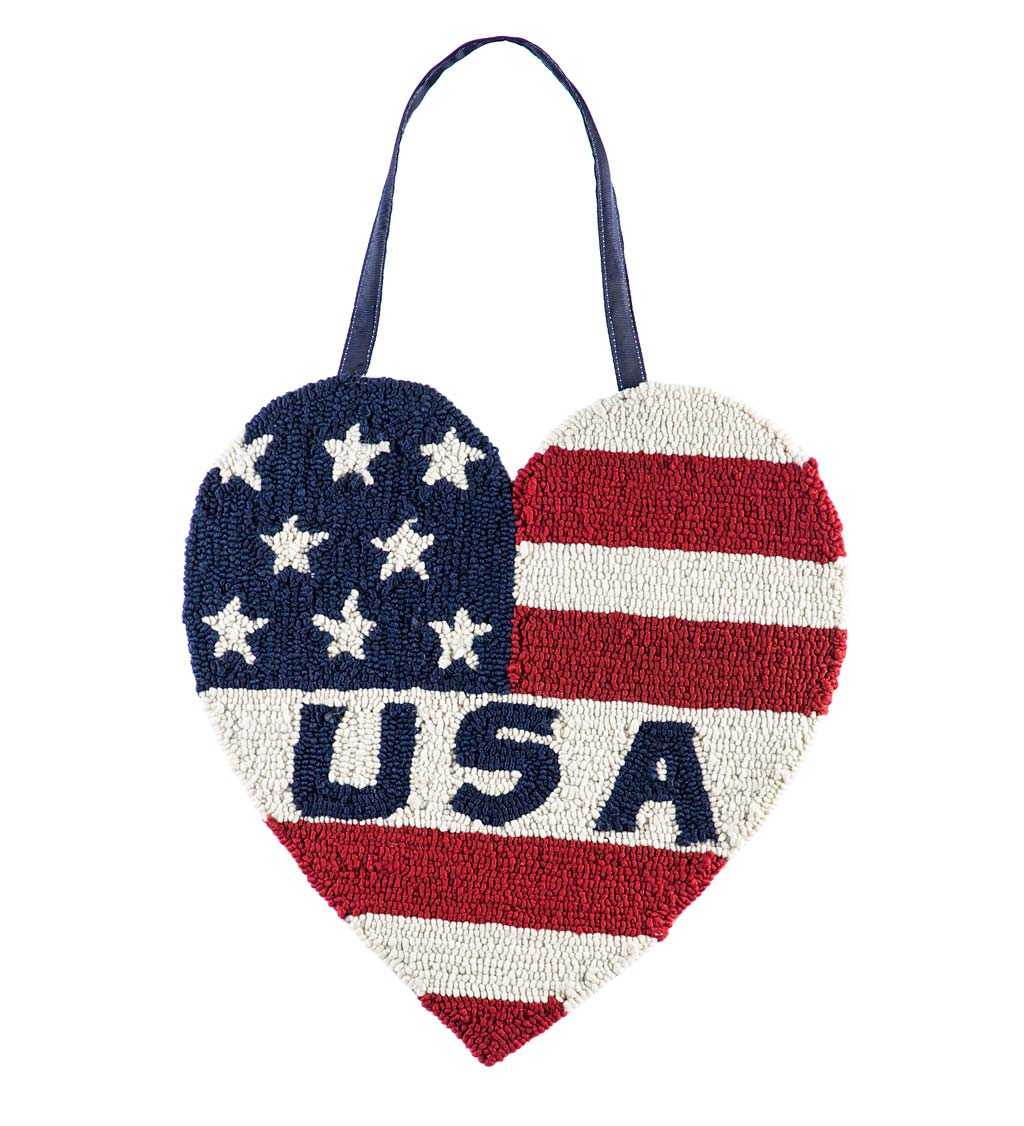 Americana Heart Hooked Hanging Door Decor