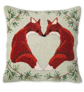 Hooked Wool Love Foxes Throw Pillow