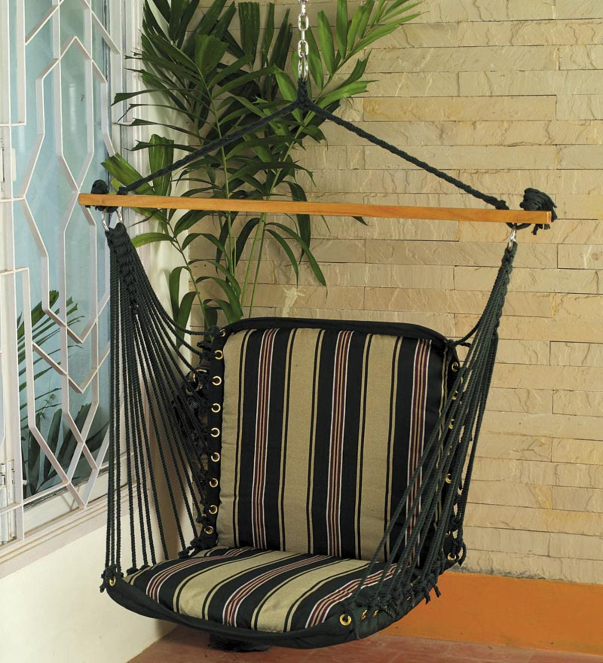 Striped Polyester Hammock Swing Chair - Tan Stripe