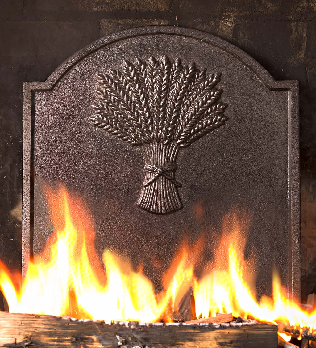 Cast Iron Fireplace Fireback With Wheat Sheaf Design