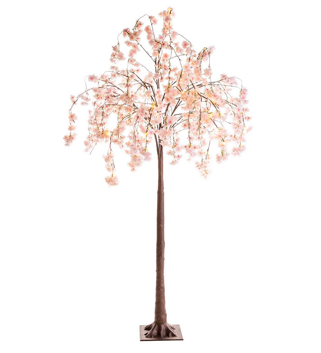 Large Lighted Faux Weeping Cherry Tree, 6'H