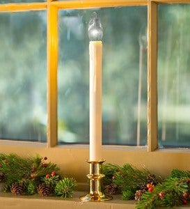 Adjustable Height Window Candle with Auto Timer and Metal Base