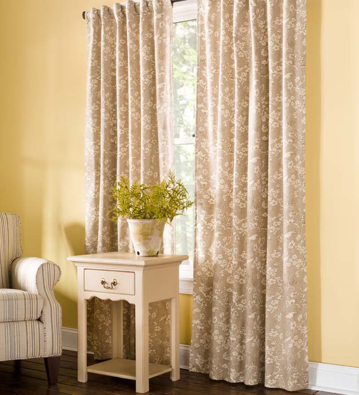 Floral Damask Rod-Pocket Homespun Insulated Curtain Panel, 42&quote;W x 63&quote;L