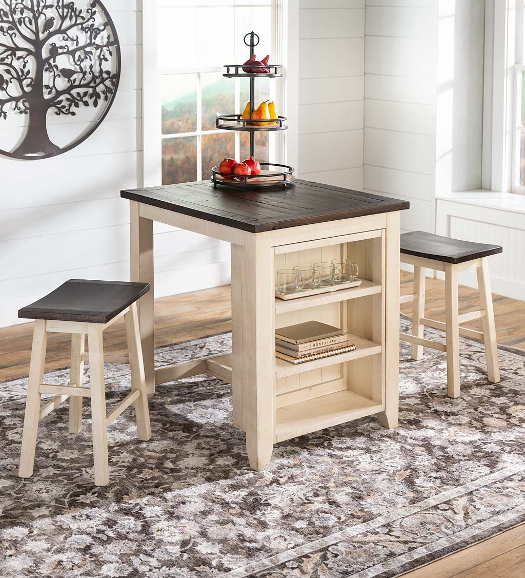 Cape Charles 3-Piece Wood Dining Set with Stools