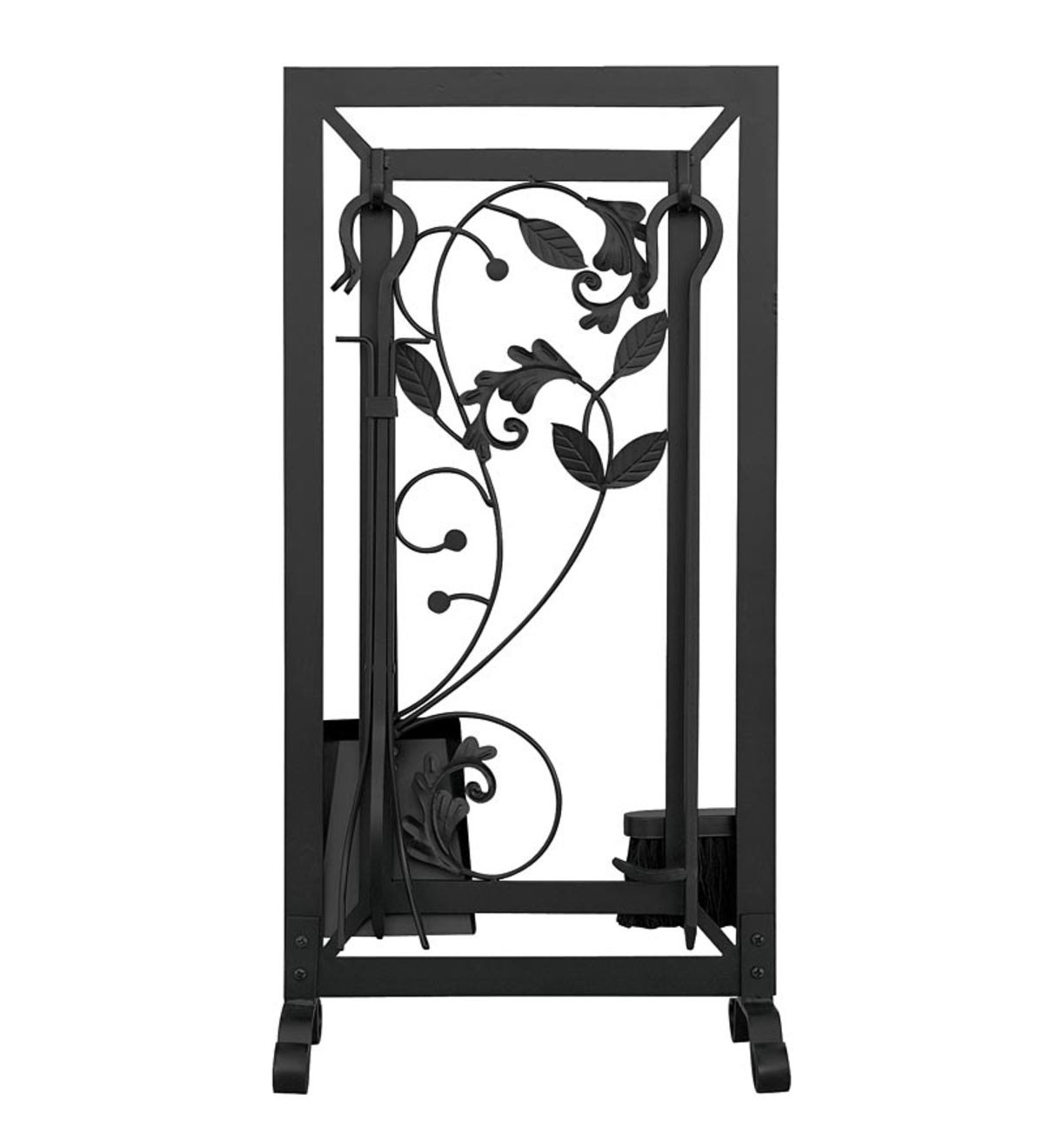 Black Wrought Iron 5 Piece Fireplace Tool Set With Flowing Leaf Design