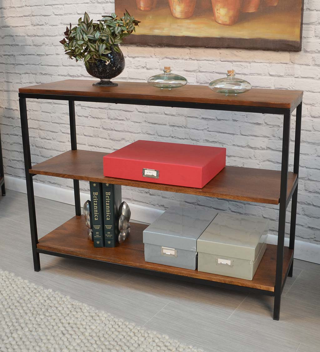 "30"" High Three-Shelf Wood and Metal Bookcase/Console"